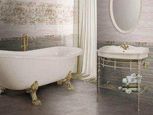 Серый травертин — редкий гость в ванной комнате